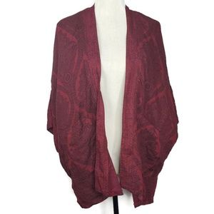American Eagle Maroon One Size Cardigan Poncho